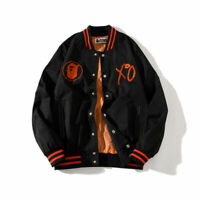 A Bathing Ape Bape Autumn Embroidery Black Baseball Jacket Button Casual Coat