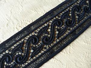 Hochwertige edle Spitze Borte schwarz 3 m lang 7 cm breit