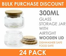 24 x 300ml Round Glass Food Storage Jar Set Canister with Airtight Wooden Lid