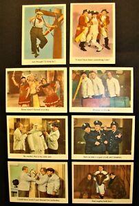 VINTAGE 1959 FLEER 3 THREE STOOGES CARDS SET OF 8, NUMBERS 47 - 49 - 50 - 51 - 5