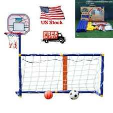 Kids Foldable Soccer Goal Net & Basketball Hoop Indoor Outdoot Training Set USA