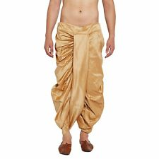 Men's Dupion Silk Dhoti Traditional Wear Stitched Gold Border