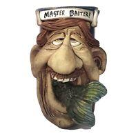 Jac Genovese MASTER BAITER Fishing 3D Mug Art Pottery Stein Face Tankard SIGNED
