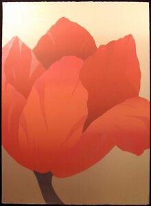 """Nancy Denison """"Ms. Tulip"""" Hand Signed Ltd Ed Serigraph red flower art Make Offer"""