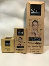 GLUTA WHITE GLUTATHIONE & COLLAGEN WHITENING Lotion 250ml+Serum+Anti-Acne Cream.