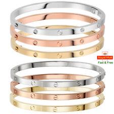 Men Women Love Forever Embossed Bracelet Bangle Titanium Steel Gold Silver Rose