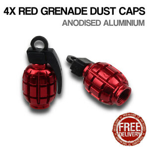 4x Red Grenade Car Bike Motorcycle BMX Wheel Tyre Valve Metal Dust Caps Dusties