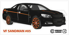 Holden VF - SANDMAN UTE BLACK / ORANGE RIMS #05 - Sticker