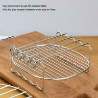 1 PCS Stainless Steel Double Layer BBQ Grill Rack With 4 Skewers For Air Fryer
