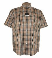 Burberry London Herrenhemd Luxus Kurzarm Beige NEU in S / M / L / XL