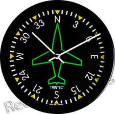 "New TRINTEC DIRECTIONAL GYRO Wall Clock 10"" Green Gyro Instrument Guage Dial"