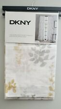 DKNY Watercolor Petunia White Yellow Gold Gray 2 pocket panels Window curtain 84