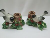 Vintage 1993 Fitz And Floyd Chickadee Bird Candleholders Set Of 2 Holly Leaves