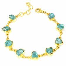 Rough Neon Blue Apatite 10x6mm 14K Gold Plate 925 Sterling Silver Bracelet
