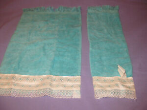 NOS 2 vintage Small Hand Fingertip Towels with Trim Cotton USA Turquoise