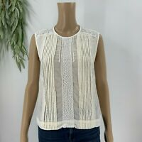 J.Crew Womens Cropped Shell Top Size 8 M Ivory Cream Pleated Shirt Blouse Cotton