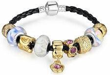 Thompson Luxury Charm Armband Klara Murano Glass 925 Silber + vergoldete L 20 cm
