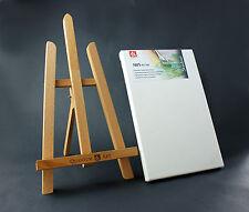 Set di 1x390mm legno di faggio TABLE TOP CAVALLETTO + 1x 20x30cm TELA DI ARTISTA Craft