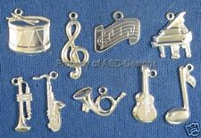 144pc S/S Plated Musical Instrument Lot Charms 5655