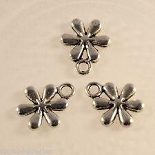 6 pendentifs breloques fleur en argent tibétain 13x11 mm