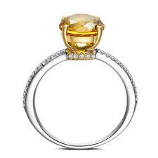 2.55CT Round Citrine Gemstone Diamonds Jewelry 18K White Gold &Yellow Gold Ring