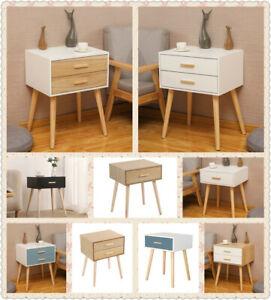 Wooden Bedside Tables Cabinets Unit Side Table Drawer Storage Bedroom Furniture