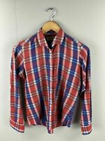 Carson Pirie Scott & Co - Chicago - Vintage Women's Long Sleeve Shirt - Red Blue
