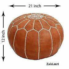 Mroccan Authentic Tan leather Otmane Pouffe Hand Stitched traditional artisana