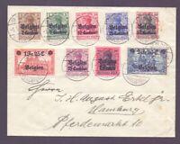 Dt. Bes. Belgien - MiNr. 1/9 einzeln rund gestempelt auf schönem Brief (712)
