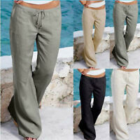 Womens Linen Casual Trousers Wide Leg Pants Bottoms Summer Holiday Chino Palazzo