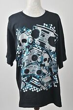 Men's Black Skulls And Music DJ Boombox Graphic Short Sleeve T-Shirt Size XL