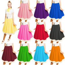 Ladies GREASE SANDY SKIRT Child Plain1950s Costume Circle Skirt Rock and Roll UK