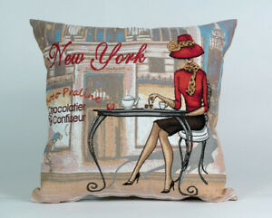 Cushion Pillowcase Pillow Cover Tapestry Case Decorative Lady Cafe