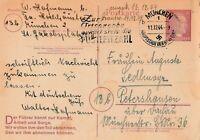 Postkarte verschickt von München nach Petershausen aus dem Jahr 1944