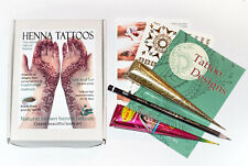 Henna Tattoo Gift Set, Mehndi Kit, Glitter, Design Booklet, Natural Henna JJ
