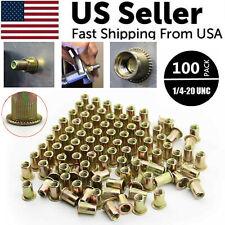 100 Pcs Rivet Nut Flat Head Threaded Insert 14 20 Unc Carbon Steel Nutsert Sae