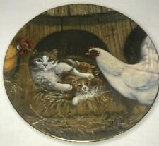 """Collector Plate """"Right Church, Wrong Pew"""" Lowell Davis, Chickens & Cats, 1982"""