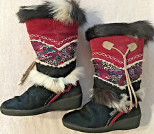 Tecnica Womens Goat Fur Apres Ski Boots Black Nordic Sz 6.5US/37EU Italy Lovely!