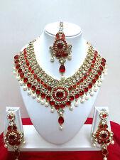 Indisch Hochzeit Modeschmuck Vergoldet Halskette Ohrring Bollywood Schmuck Set