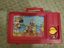 Vintage IDEAL Disney Mickey Mouse Plastic Musical TV Wind Up Carry Toy        GR