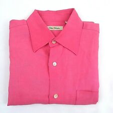 Peter Millar Men's Medium Pink Silk Linen Blend Short Sleeve Button Front Shirt