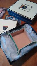 Aspinal Vert Lézard Cuir & Cream Daim carré vide poche Valet Tidy Entièrement neuf dans sa boîte