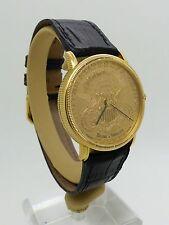 Vintage Baume & Mercier Solid 18k Gold Wristwatch Twenty Dollar Gold Coin M/Size