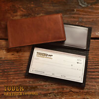 Handmade Amish Leather Checkbook Cover comes in Brown or Black