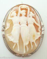 Large 14k Gold Filigree Genuine Natural Shell Cameo Pin w/Three Graces (#C3074)