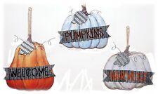 "Fall Pumpkin Sign Plaque Set/3 Wall Decor Home Autumn Harvest Decor 8"" NEW"