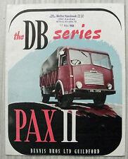 DENNIS DB SERIES PAX II Good Chassis Sales Brochure c1958 #147P