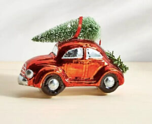 Crate and Barrel Car with Tree Christmas Ornament