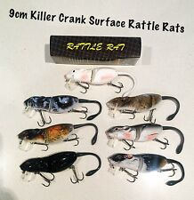 New 9cm Killer Crank Rattle Mouse/Rat (7 Pack) Surface Cod/Bass Fishing Lure