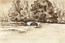 Originalzeichnungen (1900-1949) mit Landschafts-Motiv und Tusche-Technik